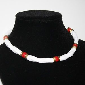 """Retro Vintage necklace 16"""" red gold and white"""